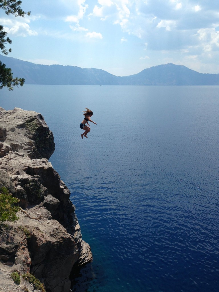 Jumping off the cliffs at Crater Lake National Park