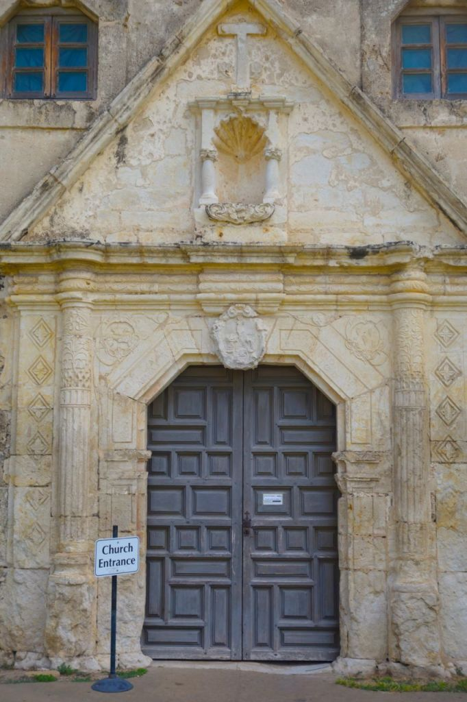 Beautiful doorway of Mission Conception. There was a service going on and you could ride your B-cyle down to attend it if you would like.