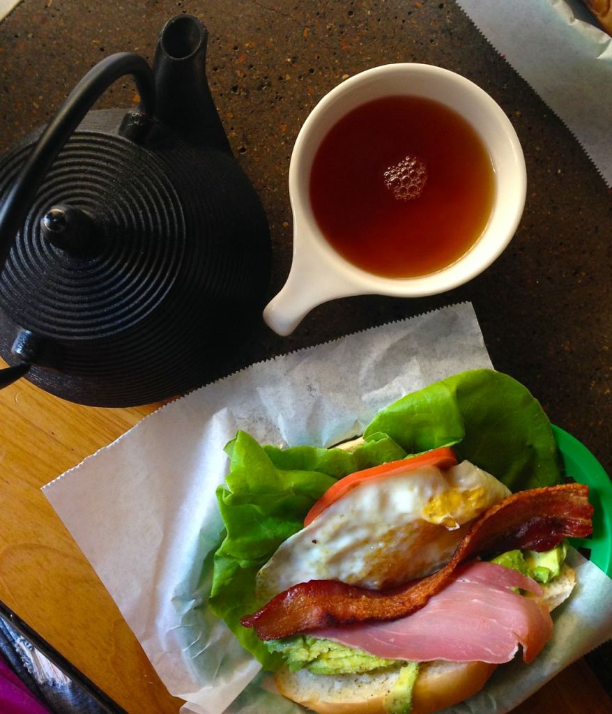 Not only great breakfast sandwiches but a big pot of loose leaf tea.