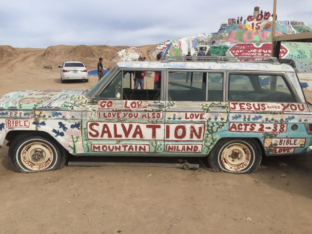 Everything gets painted at Salvation Mountain